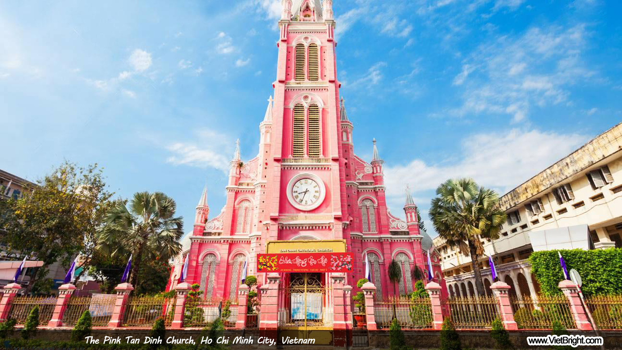 The Pink Tan Dinh Church in Ho Chi Minh city, Vietnam | www.VietBright.com
